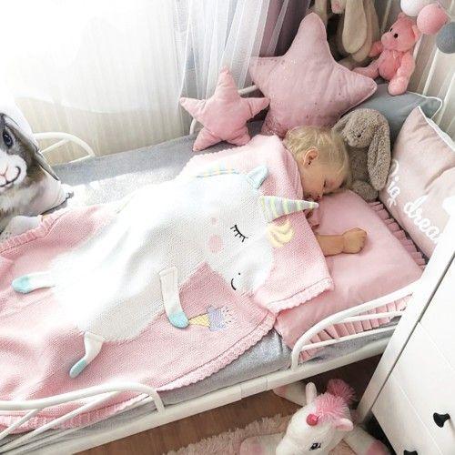 Единорог APERO розовый (светлая астра + белый) 60х120 см детский плед