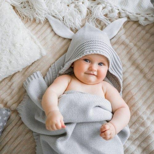 Капюшон серый APERO 70х120 см детский плед