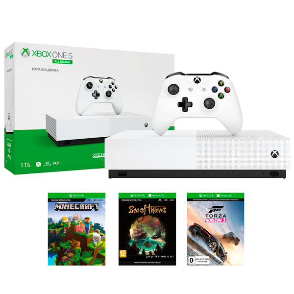Microsoft Xbox One S 1TB All-Digital Edition + 3 игры от магазина Games of World