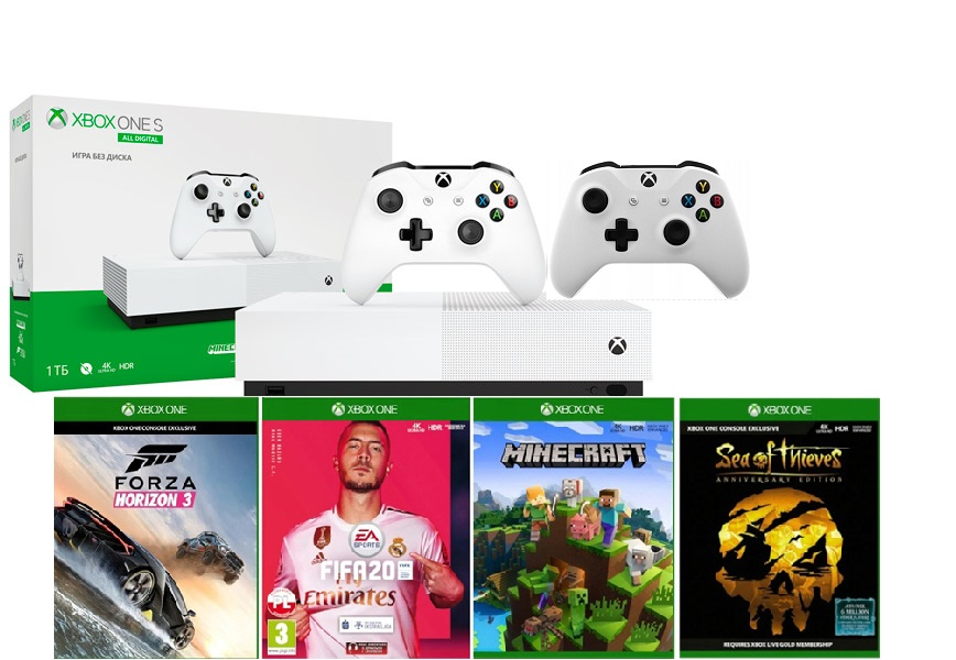 Microsoft Xbox One S 1TB All-Digital Edition+ Minecraft + Sea of Thieves + Forza Horizon 3 + FIFA 20 + дополнительный геймпад от магазина Games of World