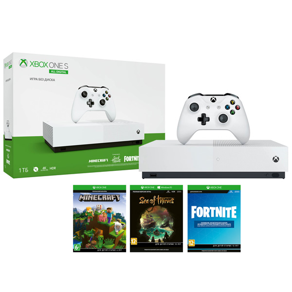 Microsoft Xbox One S 1TB All-Digital Edition + 3 игpы от магазина Games of World